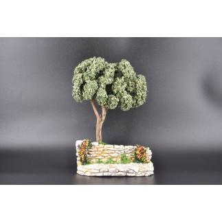 arbre rocher fleuri